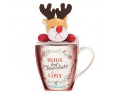 Set mug in porcellane e peluche cervo