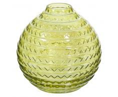 Vaso sferico verde anice in vetro H.15cm CALIENTE