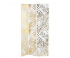 Paravento con stampa foglie bianca e dorata