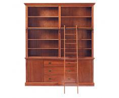 Libreria in massello di legno con scala L 193 cm Voyage
