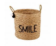 Cestino ricamato in vimini SMILE JOY