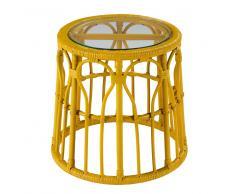 Tavolino da salotto giallo in vetro e rattan PESSOA