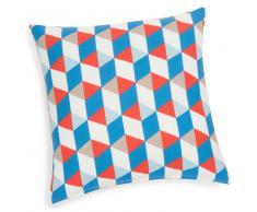 Federa per cuscino in cotone azzurro/arancione 40 x 40 cm MESSINE