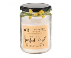 Candela profumata avorio in vetro e fiori artificiali