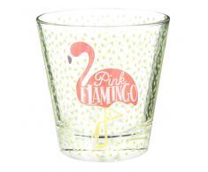 Bicchiere in vetro con stampe fenicottero rosa FLAMINGO
