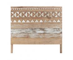 Testata da letto a motivi in legno riciclato L 140 cm Tikka