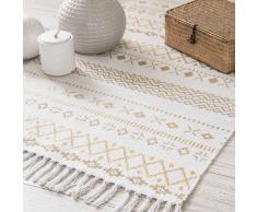 Tappeto bianco e dorato a motivi etnici 120x60 cm PHOENIX