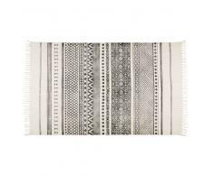 Tappeto écru con motivi neri in cotone 160x230 VIZCA