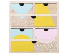 Scatola portatutto 6 cassetti in legno di paulonia a motivi bicolore