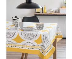 Tovaglia quadrata gialla/grigia in cotone 170 x 170 cm HELICONIA