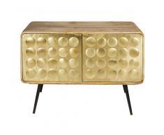 Credenza 2 porte in legno massello di mango e metallo effetto dorato Gatsby