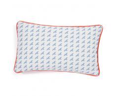 Federa per cuscino in cotone blu/rossa 30 x 50 cm MOUETTES