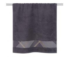 Asciugamano in cotone grigio a motivi grafici, 50x100