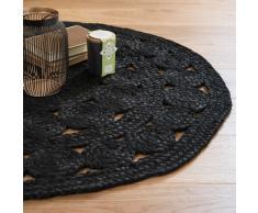 Tappeto rotondo nero in iuta D 90 cm ÉBÈNE