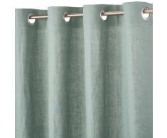 Tenda con occhielli in lino lavato verde rame, 130x300