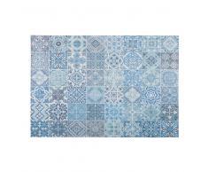Tappeto in tessuto con motivi a mattonelle di cemento blu 155x230cm CAPRI