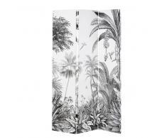 Paravento con stampa foresta tropicale nera e bianca