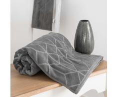 Asciugamano da bagno grigio antracite a motivi in cotone 70x140cm OP ART