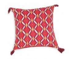 Fodera di cuscino con pompon rossa in cotone 40 x 40 cm TORTOLA