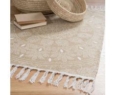 Tappeto a frange beige in cotone 60 x 90 cm YOGYA