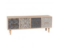 Scatola portatutto 4 cassetti in legno di paulonia a motivi