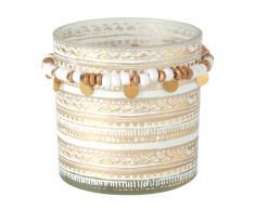 Candela profumata con vasetto in vetro motivi grafici bianchi e dorati