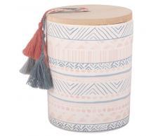 Candela profumata in ceramica con motivi grafici e pompon