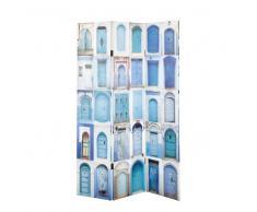 Paravento stampato blu in legno L 120 cm GABES