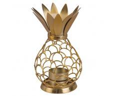 Candeliere ananas in metallo traforato dorato