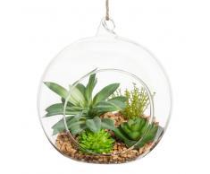 Sfera di piante grasse artificiali da appendere in vetro