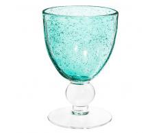 Bicchiere da vino turchese a bolle in vetro MINT