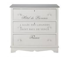 Cassettone bianco in legno di paulonia L 90 cm Garrigue