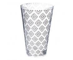 Boccale da birra in vetro con motivi a losanghe neri CARRÉ