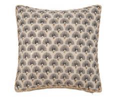 Fodera di cuscino in cotone nero, beige e dorato, 40x40 cm