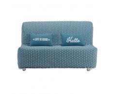 Fodera per divano BZ blu anatra con stampe a stelle in cotone Elliot
