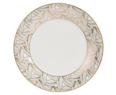 Piatto da dessert bianco con motivi a foglie in porcellana