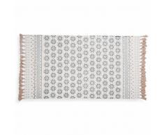 Tappeto a frange in cotone bianco con motivi blu 90x150 cm TOULON