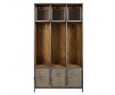 Mobile da ingresso a 3 ante grigio in metallo e legno massello di mango Lewis
