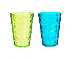 12 bicchieri blu e gialli in plastica CARAT