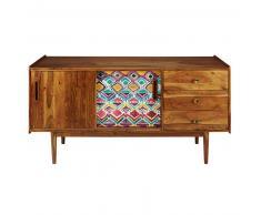 Credenza 2 porte 3 cassetti in legno massello di acacia stampato Ikat