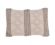Fodera di cuscino in cotone écru e grigia, 30x50 cm