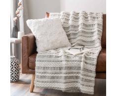 Coperta morbida ecru a righe in lana 130 x160 cm TAORMINA