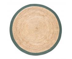 Tappeto rotondo intrecciato in iuta con contorno verde, d. 180 cm