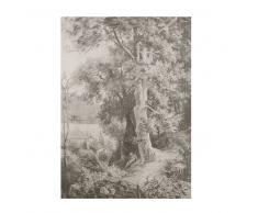 Tela con stampa paesaggio nera e bianca, 115x200 cm
