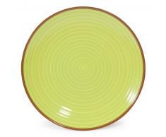 Piatto piano verde/beige in maiolica D 27 cm MADRID