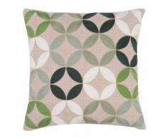 Fodera di cuscino in tessuto beige con motivi verdi 40x40