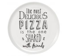 Piatto pizza bianco con stampa in porcellana