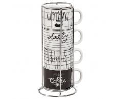 Torre 4 tazze espresso in maiolica nera e bianca