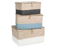 3 scatole portaoggetti intrecciate in vimini tricolore