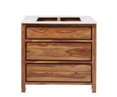 Mobile da cucina con 3 cassetti in legno massello di sheesham e marmo Stockholm